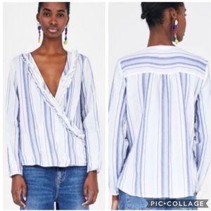 Zara ruffle top is NWOT. Women's Size large